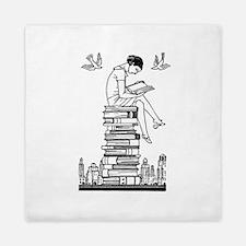 Reading Girl atop books Queen Duvet