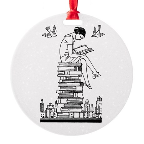 Reading Girl atop books Round Ornament