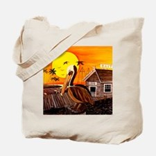 Brown Pelican at Sunset Tote Bag