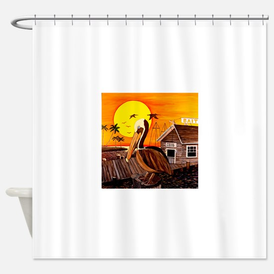 Brown Pelican at Sunset Shower Curtain