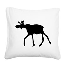 Moose Silhouette Square Canvas Pillow