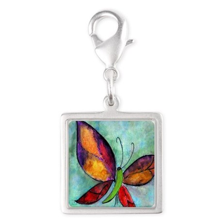 Butterfly Silver Square Charm