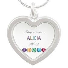 Alicia Yelling BINGO Silver Heart Necklace