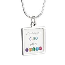 Cleo Yelling BINGO Silver Square Necklace