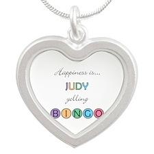 Judy Yelling BINGO Silver Heart Necklace