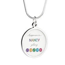 Nancy Yelling BINGO Silver Round Necklace