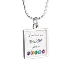 Sherry Yelling BINGO Silver Square Necklace
