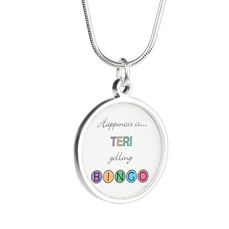 Teri Yelling BINGO Silver Round Necklace