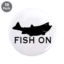 """Fish on 3.5"""" Button (10 pack)"""