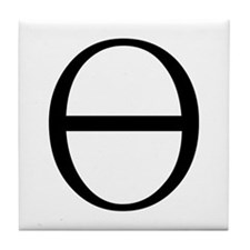 Greek Symbol Theta Tile Coaster