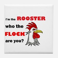 Who the flock tee Tile Coaster