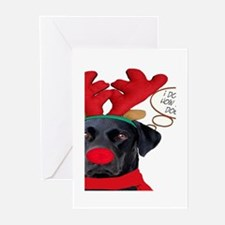 Black Lab Rudolph Greeting Cards