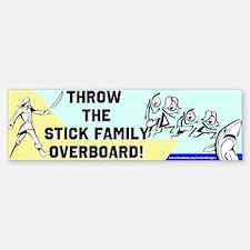 Stick Family Overboard Bumper Bumper Bumper Sticker