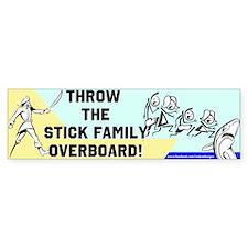 Stick Family Overboard Bumper Bumper Sticker