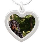 Wet Gordon Silver Heart Necklace