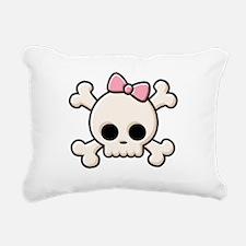 Cute Skull Girl Rectangular Canvas Pillow