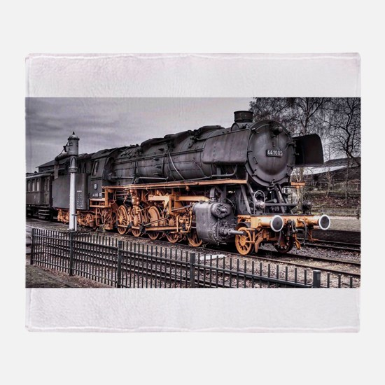 Vintage Locomotive Steam Train Throw Blanket