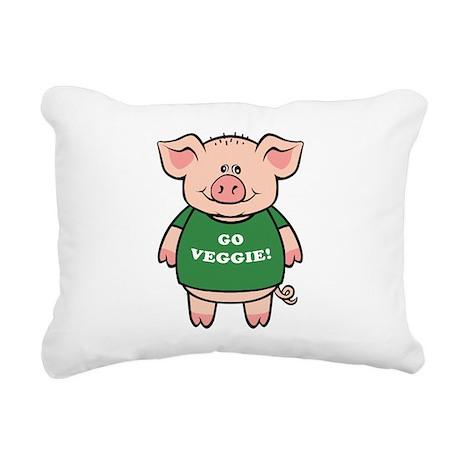 go_veg_pig.png Rectangular Canvas Pillow