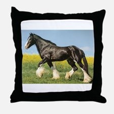 Cute Percheron horses Throw Pillow
