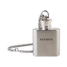 Kathryn, Vintage Camo, Flask Necklace
