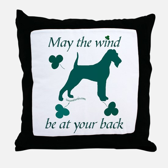 Irish Terrier and Shamrocks Throw Pillow