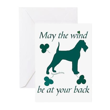 Irish Terrier and Shamrocks Greeting Cards (Pk of