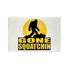 Gone Squatchin - Bark at the Moon Rectangle Magnet