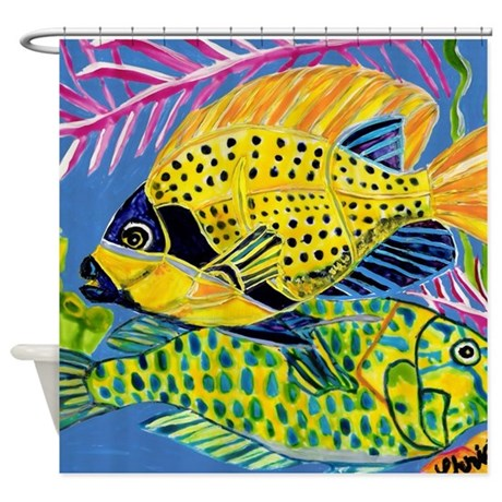 Tropical fish shower curtain by christinagowerdesigns for Tropical fish shower curtain