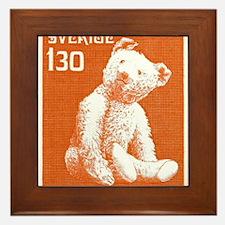 1978 Sweden Teddy Bear Postage Stamp Framed Tile