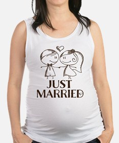 Just Married line drawing couple Tank Top