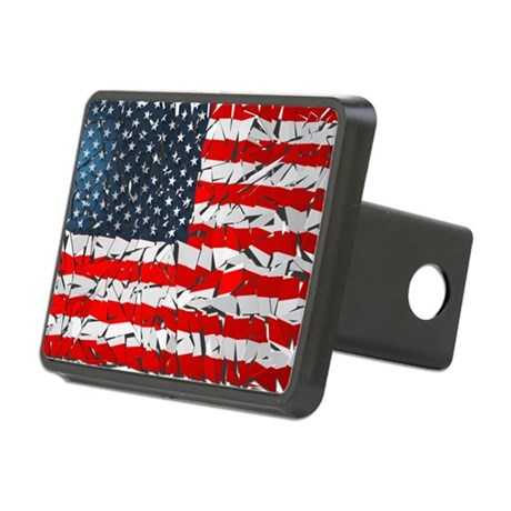 US Flag Rectangular Hitch Cover