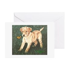 Lab Pup and Butterfly Greeting Cards (6)