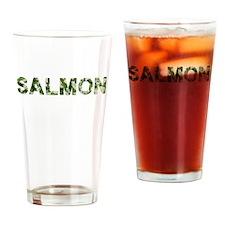 Salmon, Vintage Camo, Drinking Glass