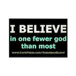 One Fewer God Rectangle Magnet
