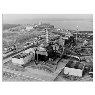 Aerial view of Chernobyl and its sarcophagus Poster