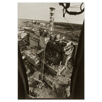 Aerial view of Chernobyl soon after the accident Framed Print