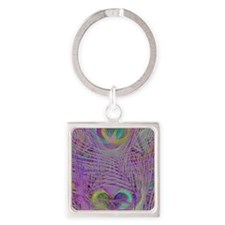 Purple Peacock Feathers Square Keychain