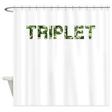 Triplet, Vintage Camo, Shower Curtain
