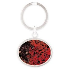 Red Granite Oval Keychain