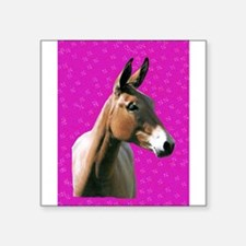 """Pink mule head Square Sticker 3"""" x 3"""""""