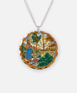 Great Seal of Florida Necklace Circle Charm
