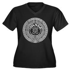 White Aztec Calendar Logo Plus Size T-Shirt