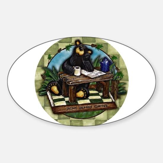 Coffee Drinking Bear Sticker (Oval)