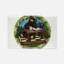 Coffee Drinking Bear Rectangle Magnet