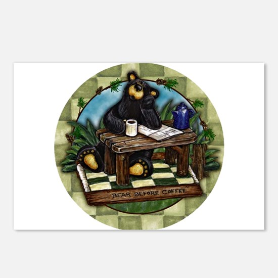 Coffee Drinking Bear Postcards (Package of 8)