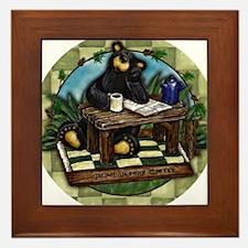 Coffee Drinking Bear Framed Tile