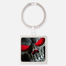 Red Eyed Skull Square Keychain
