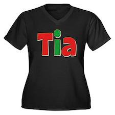 Tia Christmas Women's Plus Size V-Neck Dark T-Shir