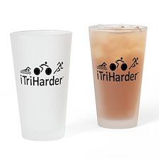 iTriHarder triathlon motto Drinking Glass