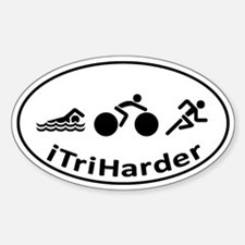 iTriHarder triathlon motto Sticker (Oval)